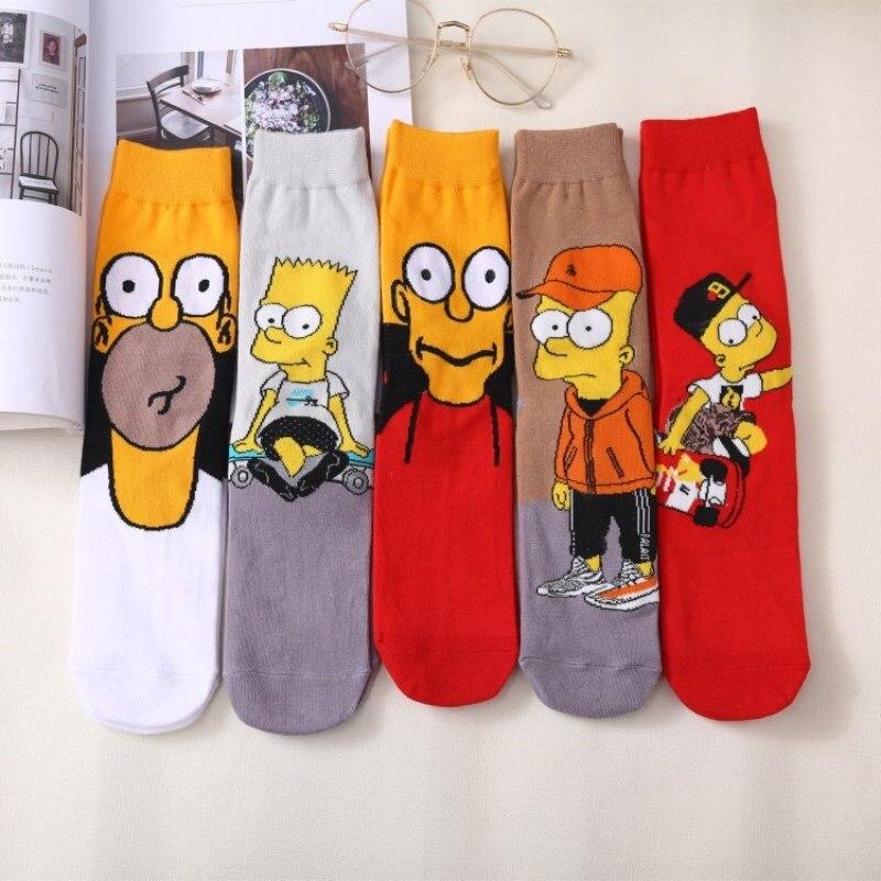 New Simpson Family Novelty Cute Couple Socks Animal Funny Happy Socks Men Cartoon Funny Girl Cotton Socks Male Female Unisex