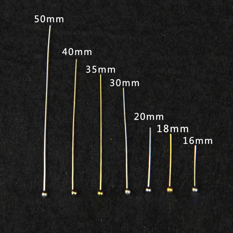 200 sztuk/partia 16 20 25 30 40 50 mm złota metalowa głowica kulowa Pins dla Diy tworzenia biżuterii głowy pins ustalenia Dia 0.5mm dostaw