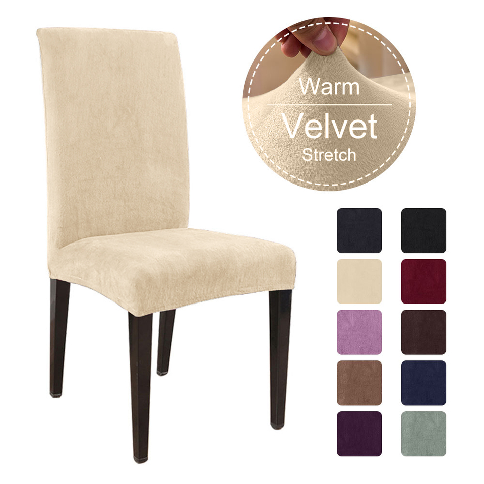 1 4 6 Thick Plush Dining Room Chair Cover Stretch Elastic Slipcovers Restaurant For Banquet Folding Hotel Chair Covering Chair Cover Aliexpress