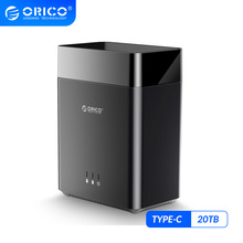 ORICO DS Series 2 Bay 3.5'' Type C Hard Drive Enclosure Magnetic USB3.1 Gen1 5Gbps Hard Drive Case Support UASP 12V4A Power 20TB