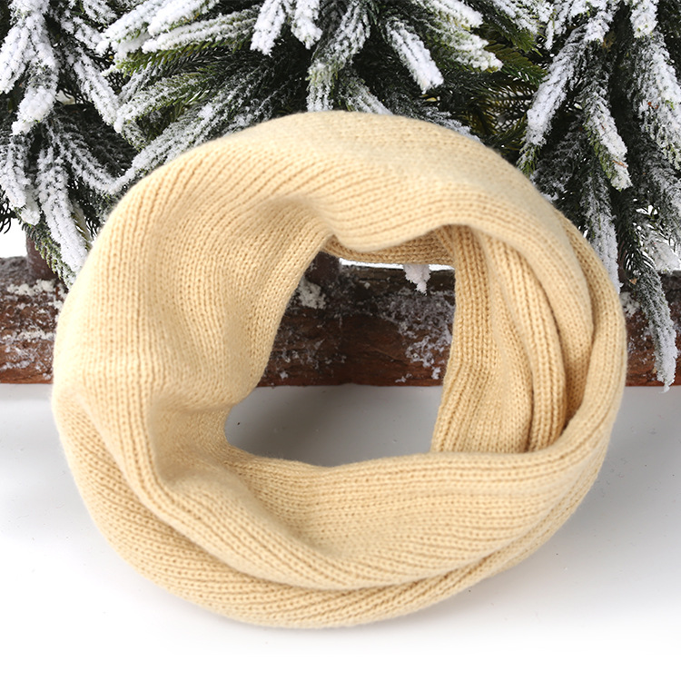 Корейский на осень-зиму кольца Шарф детский маленький шарф в полоску вязаный однотонная, маленькая комбинезон Теплая дутая куртка для мальчиков и девочек зимняя юбка - Цвет: 4