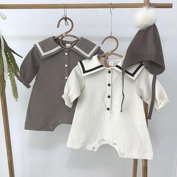 Korea Spring And Autumn Boys And Girls' Cotton Hemp Sailor Collar Long Sleeve