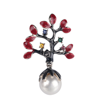 Pearl Decorated Brooch Lovely Little Tree Red Creative Pin