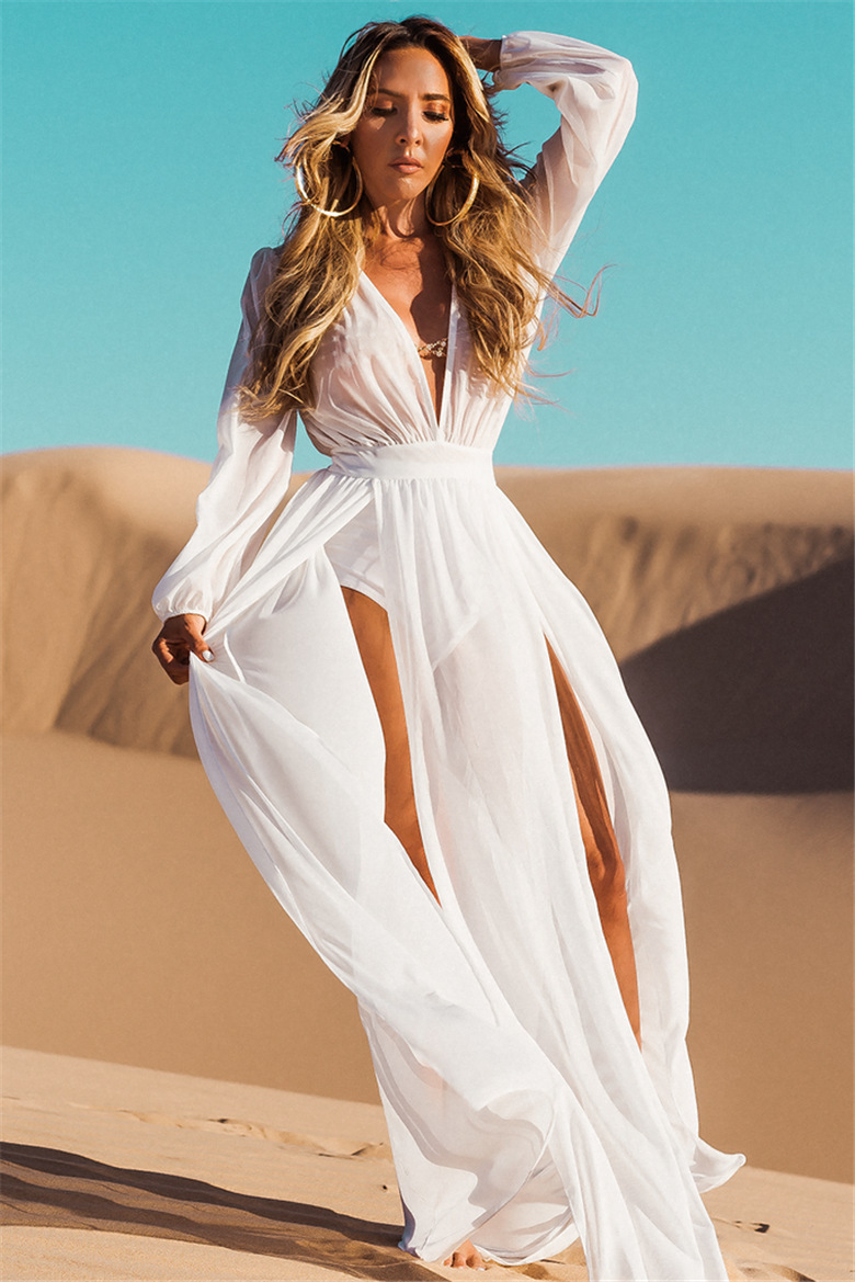 Melphieer 2020 Chiffon White Beach Dress Long Beach Cover Up Woman Swimwear Bikini Tunic Long Pareos Robe Plage Beachwear Outfit