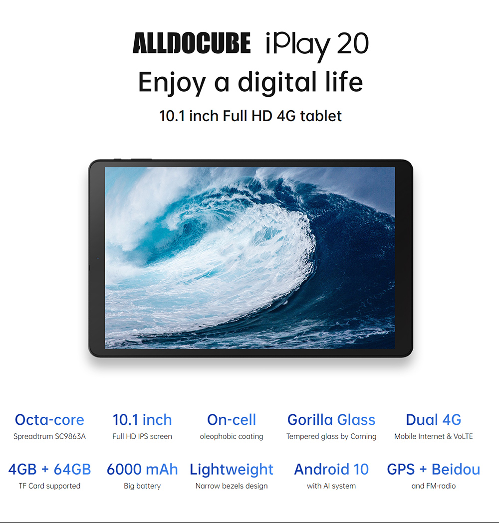 ALLDOCUBE iPlay20 10.1 inch Android 10 Tablet 4GB RAM 64GB ROM SC9863A  Tablets PC 1920*1200IPS iplay 20