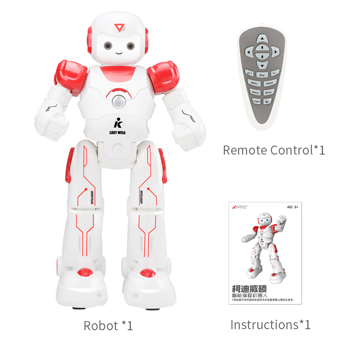 Cady Wiso RC Robot Toy With Intelligent Programming Gesture Sensing Function - Red/ Yellow