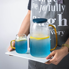 Популярный большой емкости 1.4L холодный стеклянный чайник чашки воды набор кувшин с ручкой холодная бутылка для воды горшок