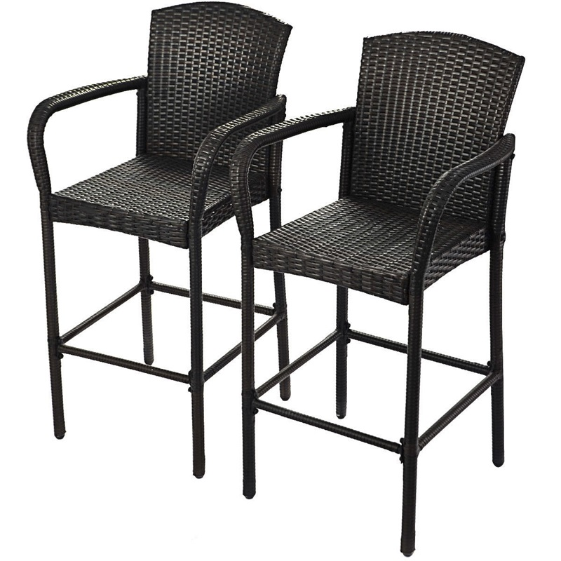 2 Pcs Rattan Bar Stool Stools Mordern For Home Barstool Set High Chair Bar Chairs Chaise Furniture HW52954