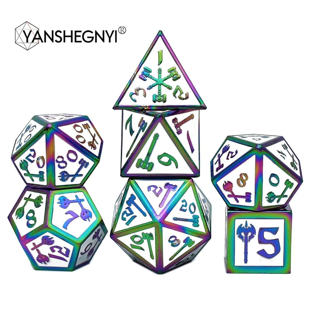 7 Pcs//Set Alloy Metal Polyhedral Dices D20 D12 D10 D8 D6 D4 for DND RPG MTG Tabl