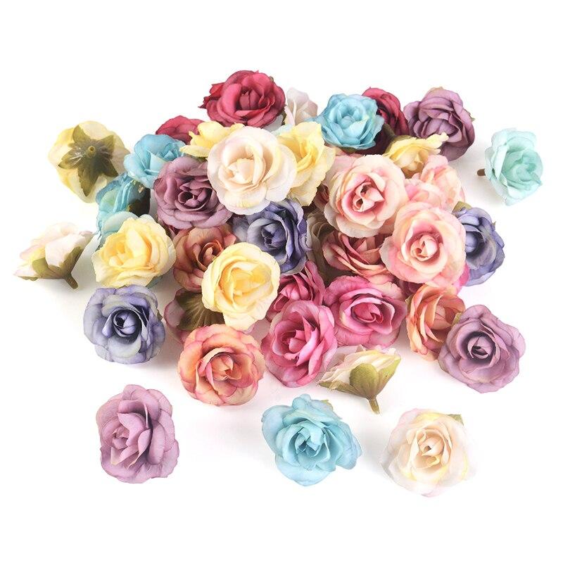 10pcs Artificial Flower 4cm Silk Rose Flower Head Wedding Home Decoration Accessories DIY Wreath Gift Scrapbooking Craft Hotsale(China)