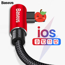 Baseus 90 Degree USB Cable For iPhone 12 Mini 11 Pro XS Max XR 8 7 6 6s 5s 5 Fast Charging Data Cord Mobile Phone Cable For iPad