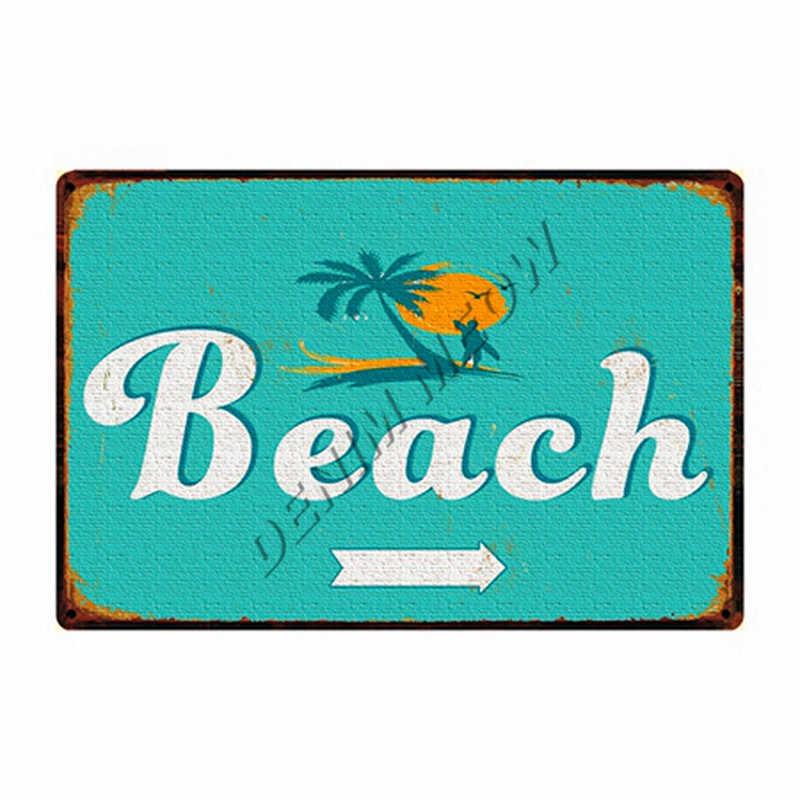 Shabby Chic-Tm Tiki Bar Florida Beach Segni In Metallo Vintage Campo Estivo California Surf Paradise Autoadesivi di Arte Della Parete Complementi Arredo Casa WY92