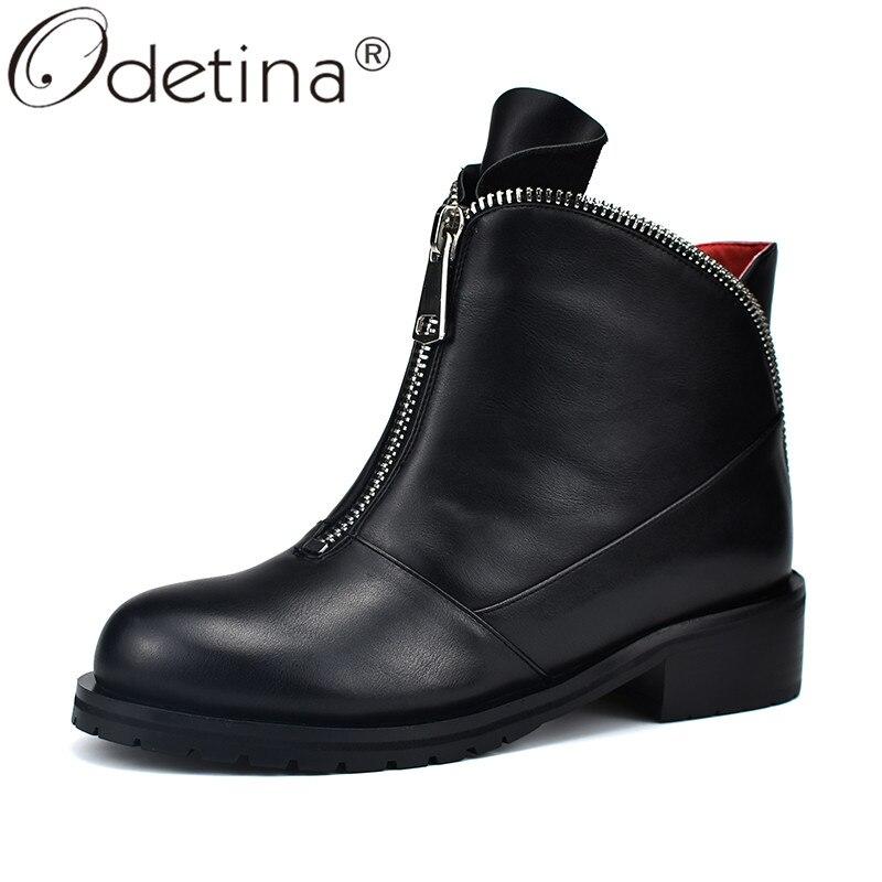 Odetina/Женские толстый низкий каблук; российские ботильоны; сезон осень зима; Модные Повседневные Удобные ботинки на платформе с круглым носком на молнии спереди|Полусапожки|   | АлиЭкспресс