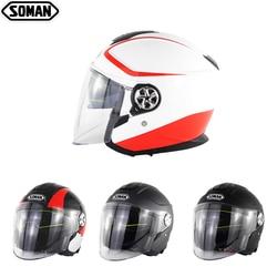 SOMAN Scooter Helmet Open Face Capacete Flip Up Motorbike Helmets for Women Chopper Casco Para Moto Hombre Capacete De Moto Kask