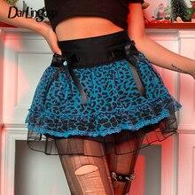 Mesh Skirt Harajuku-Bow Gothic Frill Leopard Print Vintage High-Waist Lace Female Darlingaga