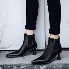 Plus Size 34-43 High Quality Women Ankle Boots Elastic Band Pointed Toe Footwear High Heels Female Boot Party Shoes Women Winter недорого