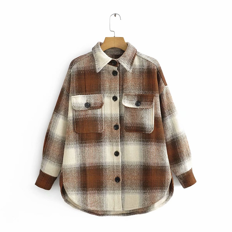 Vintage Chic Contrast Colors Patchwork Plaid Jacket Fashion Women Pockets Lapel Collar Coat Casual Streetwear Girls Outerwear