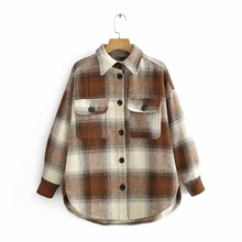 Vintage Chic contraste de colores Patchwork Plaid chaqueta de moda mujer bolsillos solapa Collar abrigo Casual Streetwear niñas prendas de vestir exteriores