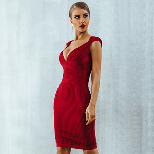 Image 5 - Seamyla 새로운 도착 여름 섹시한 여성 붕대 드레스 2019 브이 넥 레드 블랙 연예인 파티 드레스 bodycon vestidos clubwear