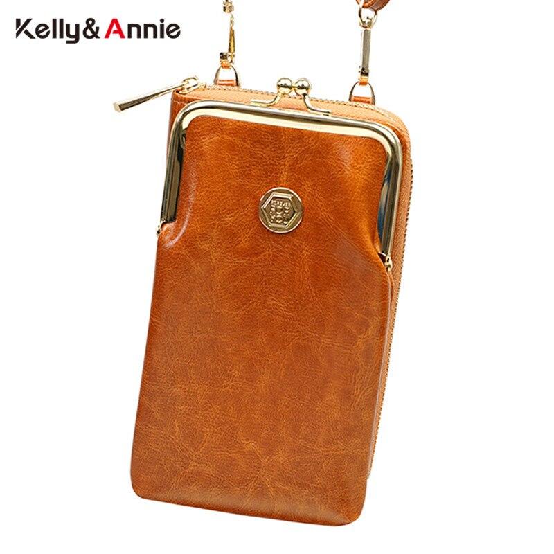 Новинка 2020, винтажные дизайнерские сумки для сотового телефона с зажимом из масляной кожи для женщин, маленькая сумка мессенджер, женская сумочка клатч|Сумки с ручками|   | АлиЭкспресс