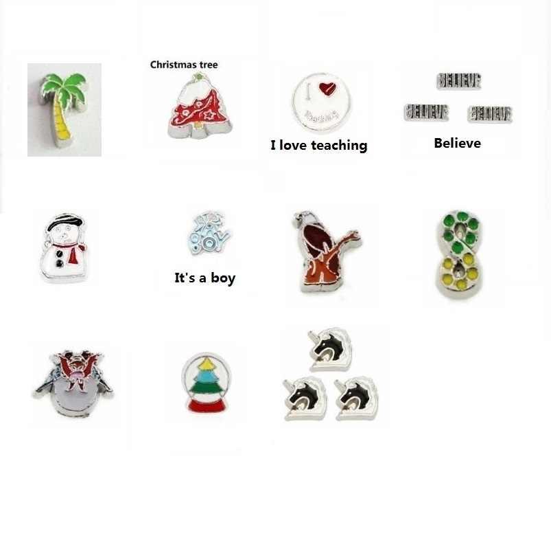 10 pçs boneco de neve árvore abóbora transporte flutuante medalhão viver encantos apto para a memória medalhão diy acessórios como crianças amigos presente