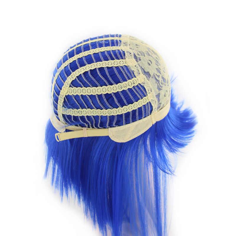 WoodFestival 11 renkler kadın sentetik Cosplay peruk düz mavi kahverengi siyah beyaz mor kırmızı yeşil pembe kısa peruk patlama ile