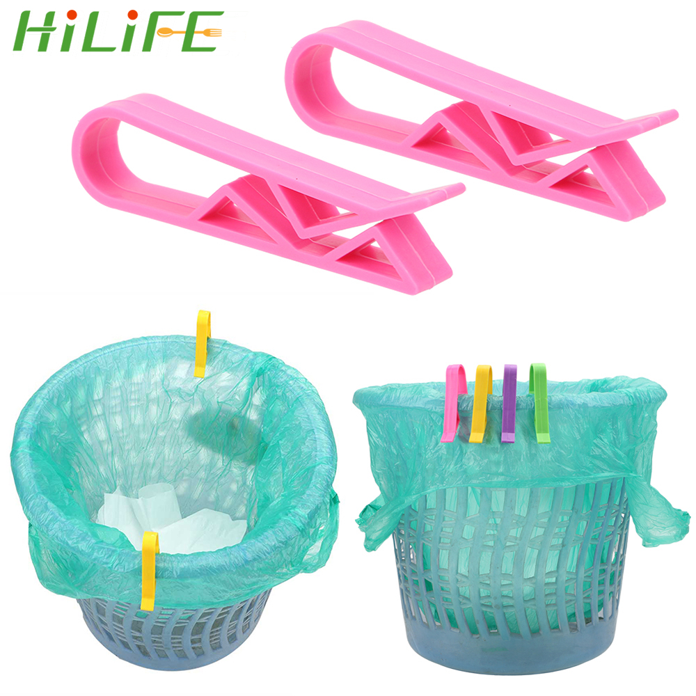 HILIFE  2/10pcs Bathroom Kitchen Storage Sealing Clip Garbage Can Waste Bin Trash Bag Fixed Clip Wash Cloth Clip Holder