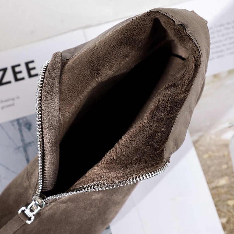 2020 Đen Mùa Đông Nữ Giày Boots Nữ Khóa Kéo Chắc Chắn-Lên Chỉ Giày Cao Gót Nữ Mắt Cá Chân Boot Da Bò Tây cao Su Boot