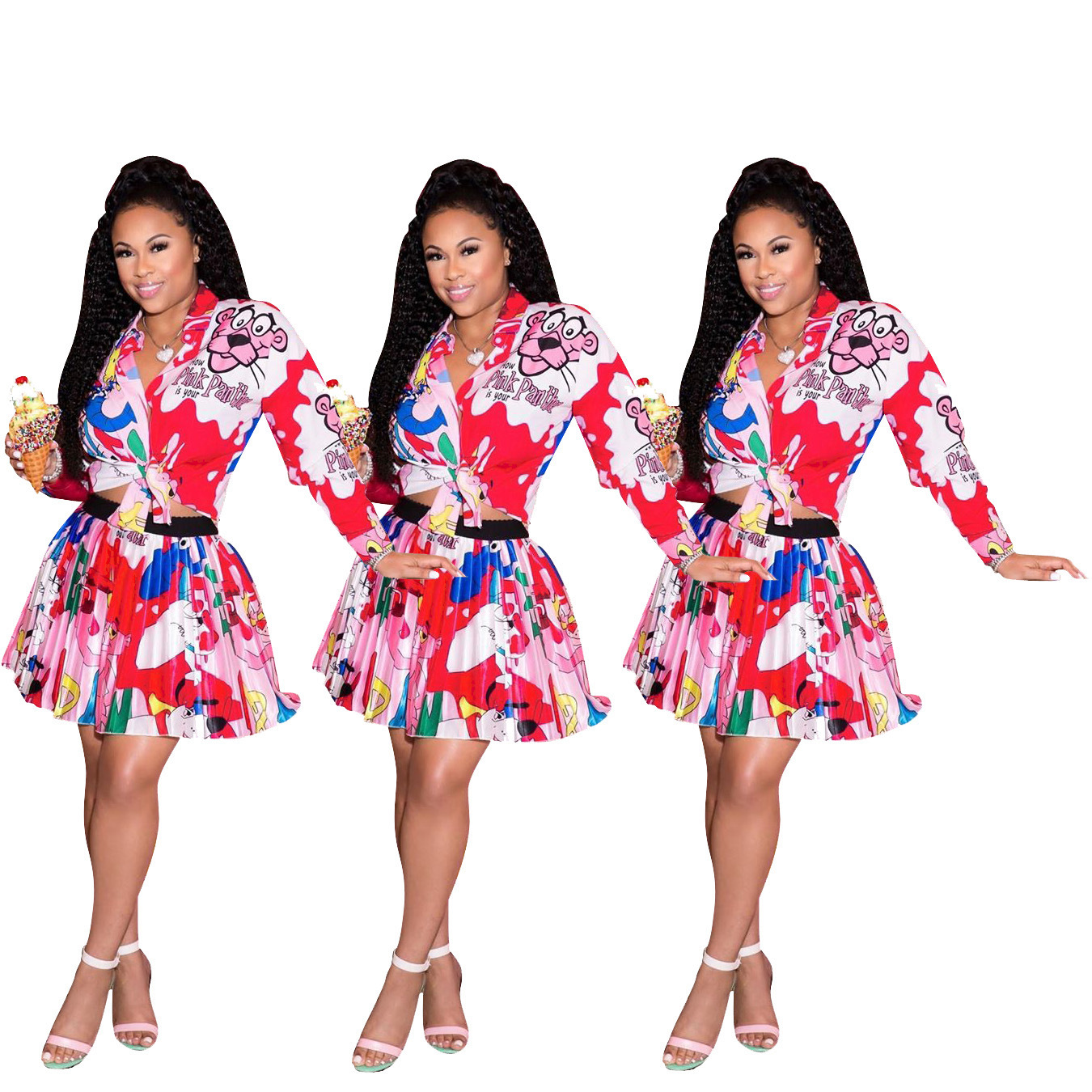 D9155 AliExpress Hot Selling Europe And America WOMEN'S Dress Cartoon Printed Short Skirt Tops Set