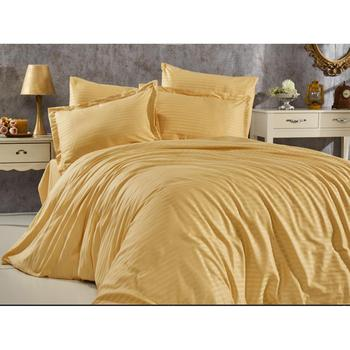 Land Of dowry Stripe Mustard Cotton Satin Duvet cover set Double Personality