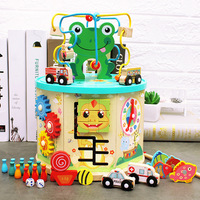 Toy Wooden Seven Sided Multi Function Large Bead Stringing Toy Treasure Chest Children's Learning Early Education and Wisdom