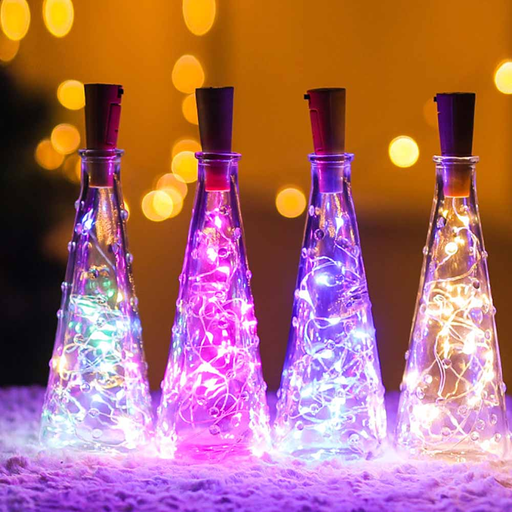 2M LED String Lights Wine Bottle Lights Cork Battery Power Garland Copper Wire Christmas For Halloween Party Wedding Decor