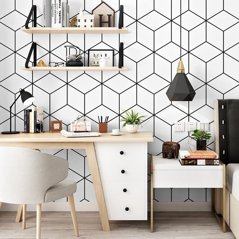 Fashion Minimalism Geometric Wallpaper Bedroom Student Dormitory Computer Desk Background Wall Decoration Modern Strip Wallpaper Wallpapers Aliexpress