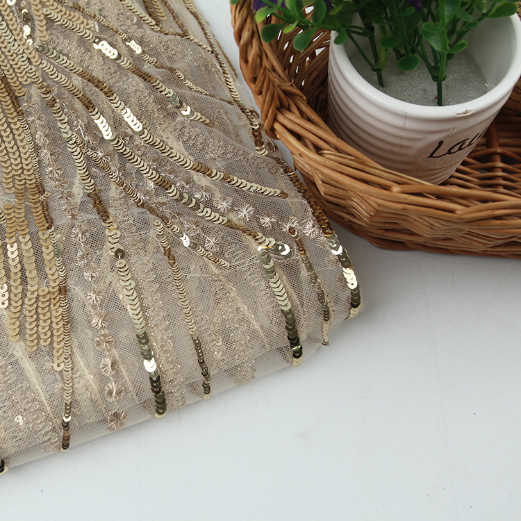 Manufacturer Direct Selling Important Occasion Polyester Mesh Yarn Sequins Gold Embroidered Lace Embroidered Dress