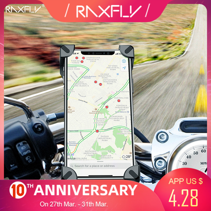 RAXFLY Bicycle Phone Holder For iPhone Samsung Motorcycle Mobile Cellphone Holder Bike Handlebar Clip Stand GPS Mount Bracket