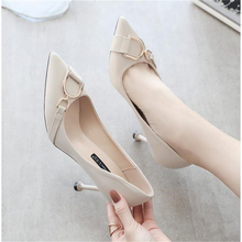 Women Pumps Soft Leather High-Heeled Shoes Thin Heeled Pointed-Toe Stripper Heels Sexy  Pointed Toe Slip-On