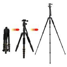 Zomei Q222/Q555/Q666/Q666C profesyonel kamera tripodu seyahat taşınabilir ayarlanabilir Tripod Canon aynasız/DSLR kamera