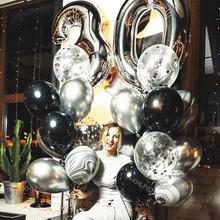 20 pçs/lote 40 polegada prata número 30 balões adulto festa de aniversário confetes balon prata cromo preto látex balão decoração crianças brinquedos
