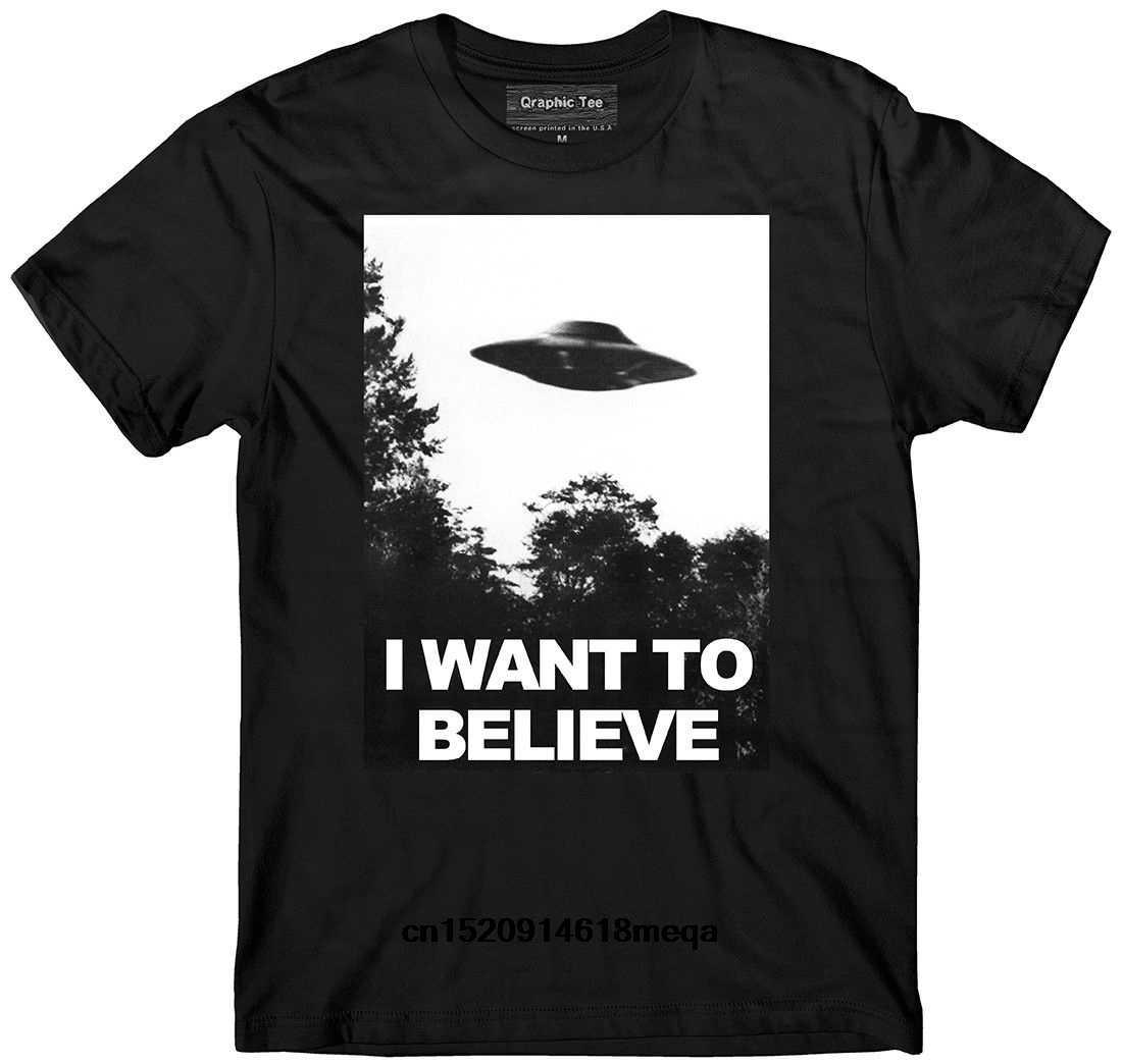 Футболка с надписью I Want to Believe Мужская футболка коротким рукавом Повседневная