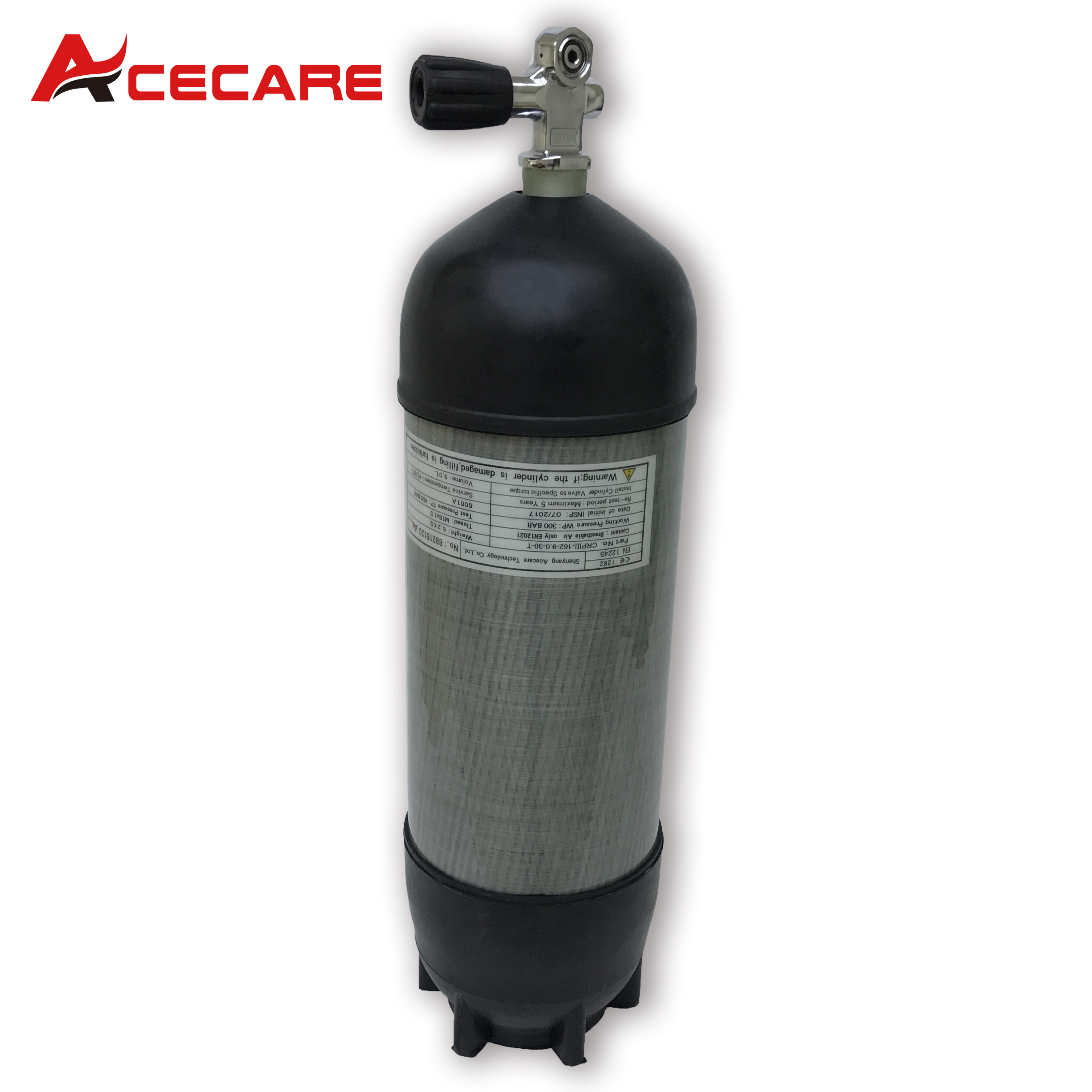 AC109591 Acecare 9L PCP Carbon Fiber Cylinders Airforce Condor Paintball Compressed Air Tank Air Rifle With Rubber&Diving Valve