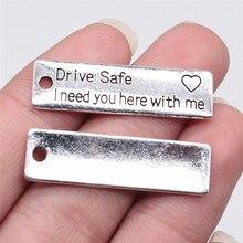Wysiwyg 5 pçs 34x10mm antigo prata cor unidade seguro tag encantos pingente para fazer jóias diy jóias descobertas