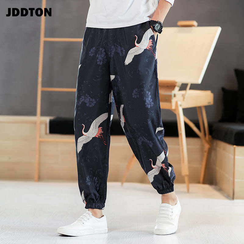 JDDTON Mens Japanese Harajuku Style Loose Personality Printing Sweatpant Beach Casual Wear Harem Kimono Streetwear Trouser JE068