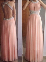 Backless Evening Dresses A Line Formal Party Gown Pink Chiffon With Crystal Beaded Long Sukienka Wieczorowa