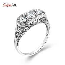 Szjinao ダイヤモンドの指輪ジルコン 3 貴石 massif 用女性彫る結婚式リアルシルバー 925 ジュエリー