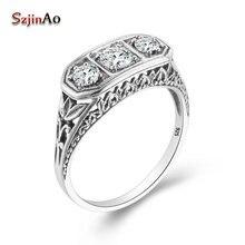 Szjinao – bagues en diamant pour femmes, 3 pierres précieuses en Zircon, en Massif, sculpture de mariage, bijoux en argent véritable, 925