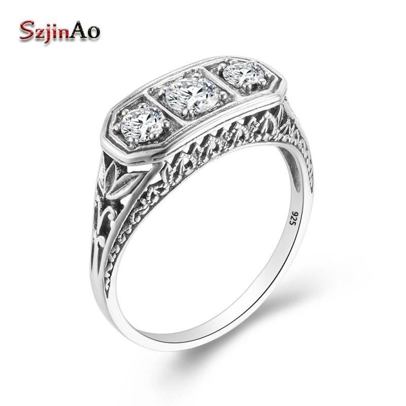 Szjinao Diamond Rings For Women Zircon 3 Precious Stone Massif Gemstone Ring For Women Carve Wedding Real Silver 925 jewelry