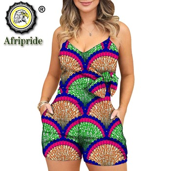 2020 African jumpsuits for women sex bodysuit dashiki clothes ankara fabric party wear slim fit romper AFRIPRIDE S1929008
