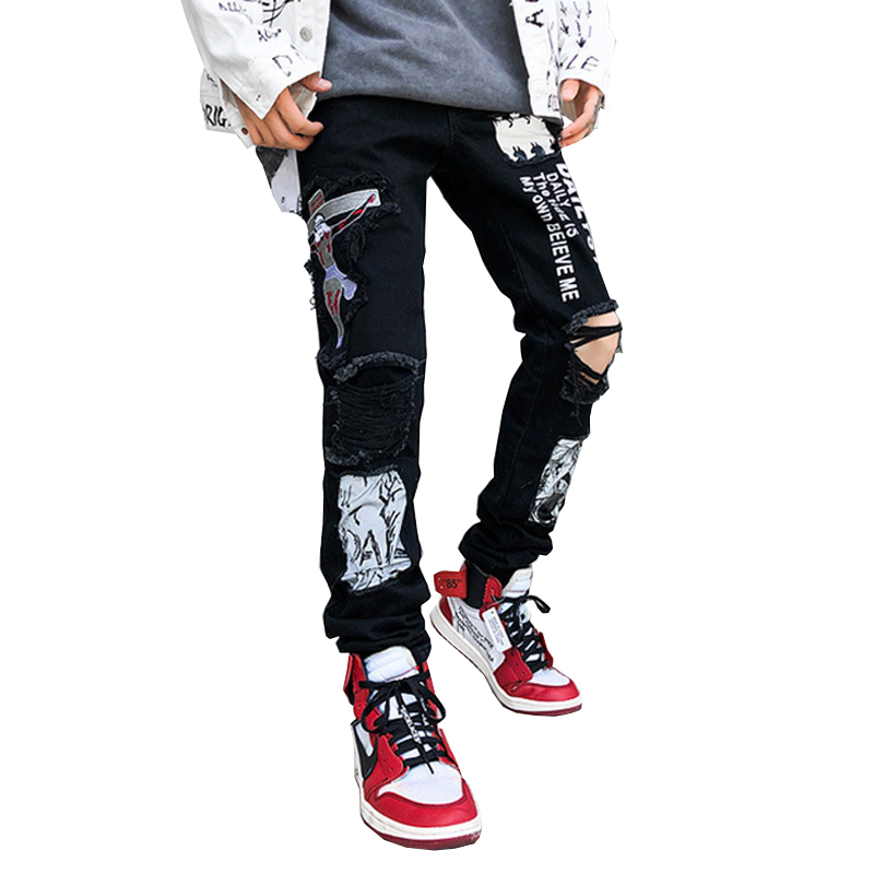 Sokotoo Men's Fashion Cross Embroidered Black Ripped Jeans Streetwear Holes Printed Denim Pants