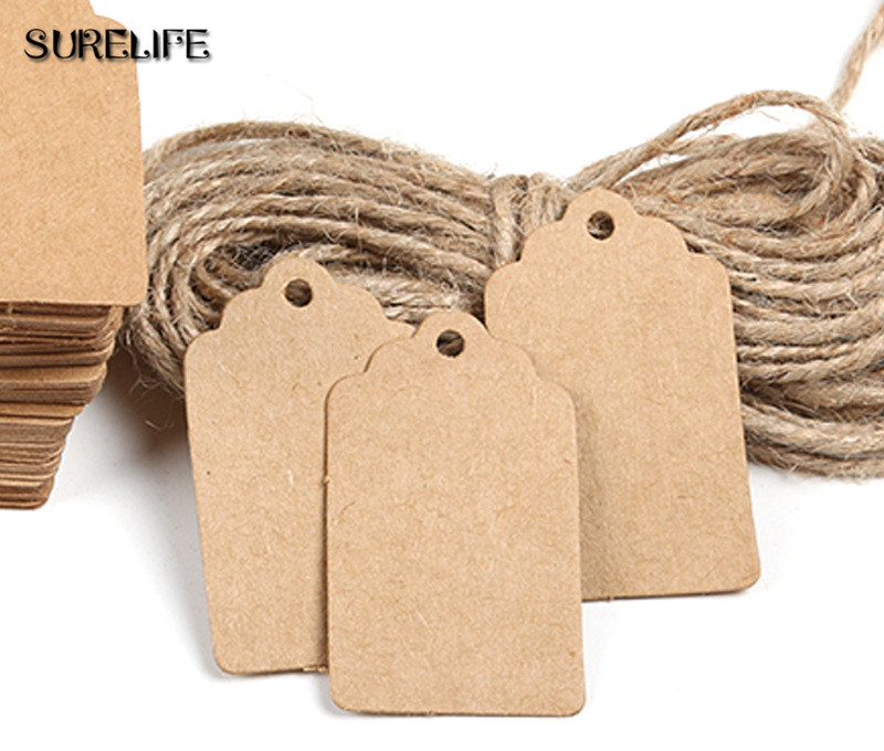 2000Pcs Tag Store Kraft Paper Blank DIY Wedding Gift Hemp Rope Price Label Hang 2*4cm/3*5cm