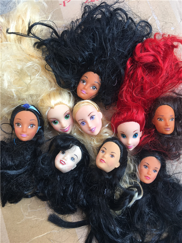 Boneca brinquedo cabeça de cabelo longo princesa cabeças sereia elsa belle boneca bonito sorrisos boneca cabeças diy vestir cabeça de cabelo meninas boneca cabeças